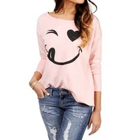 Pink Blush Winky Face Sweater