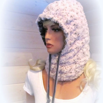 Hoodie Scarf Faux Fur Softest Luxe Pale Pink and Grey Rosette Reversible Chinchilla Fake Fur Hat Fashion Hooded Snood Hoody, Neck Warmer