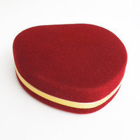 Red velvet jewelry box trinket box ring dish with mirror - Heart shape jewelry or ring box - Mothers Day gift (Ready to ship)