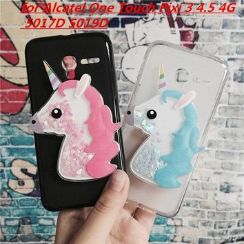 3D Unicorn Quicksand Liquid Soft Silicone Case for Alcatel One Touch Pixi 3 4.5 4G Version 5017D 5019D 5019 Phone Cover Funda