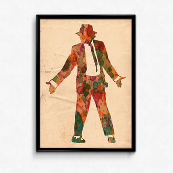 Michael Jackson Poster Watercolor Print - Fine Art Digital Painting, King Of Pop In Concert No 1 - 12x18 to 24x36 - Vintage Paper Colors
