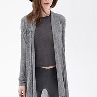 FOREVER 21 Striped Knit Cardigan Black/Grey