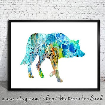 Wolf 5 Watercolor Print, Archival Fine Art Print, Children's Wall Art, Home Decor, wolf watercolor, watercolor painting, animal watercolor