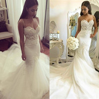 Sexy Mermaid Wedding Dress 2016 White Tulle Beaded Lace Pearls Women Mermaid Wedding Dresses Wedding Gown