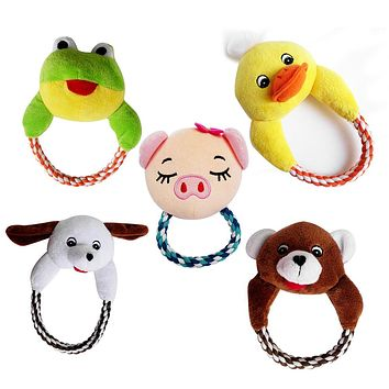 Pet Puppy Dog Cartoon Animal Plush Toy Cotton Rope Interactive Chewy Toy Gift