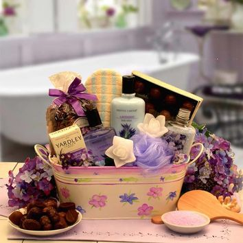 Tranquility Bath and Body Spa Gift with Floral Planter