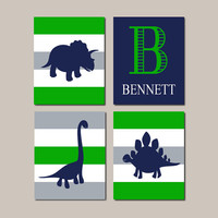 Dinosaur Wall Art, Dinosaur Decor, Big Boy Bedroom Art, Boy Nursery Decor, Toddler Boy Dinosaur Nursery Dino Theme Set of 4 Prints Or Canvas