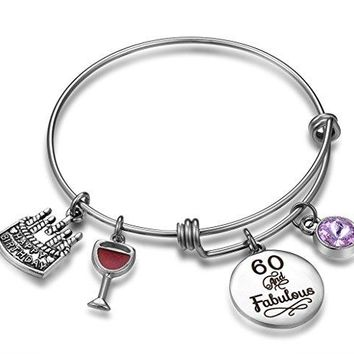 Birthday Gifts for Her Expandable Bangle Bracelet W Birthstone Charm for Women Girls Best Friend 60th