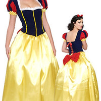 Free Shipping Adult Snow White Princess Fancy Dress Costume Fairy Tale Storybook Ladies Plus Size S-3XL