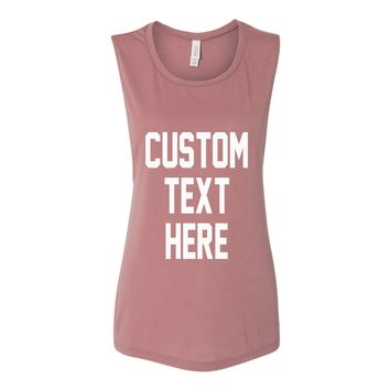 CUSTOM Text Mauve Muscle Tank Top