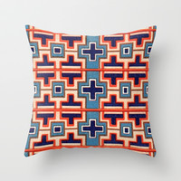 Vintage Cross French Moyen Decorative Design Throw Pillow by Iconographique