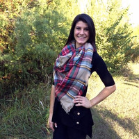 Tartan Plaid Blanket Scarf Red