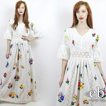 Vintage 70s White Embroidered Maxi Hippie from Everybody\'s Buying