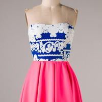 Pleat Goes On Dress - Royal Blue and Coral - Hazel & Olive