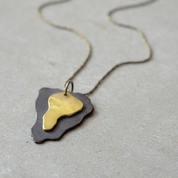 gold and black brass necklace, oxidized brass and raw brass pendant, modern rustic jewelry, hand made one of a kind, designer necklace