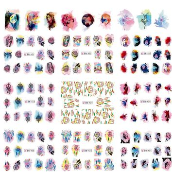 Mixed 12 Designs/Lot Watercolor Gradual Sticker Nail Art Water Transfer Tips Decals DIY Decor Dream Catcher/Girl/Car TRBN421-432