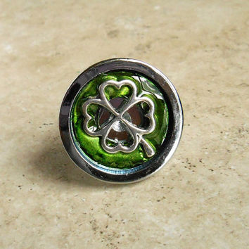 drawer pull: shamrock - cabinet knob - cabinet pull - drawer handle - dresser knob - decorative knobs - cabinet hardware - dresser hardware
