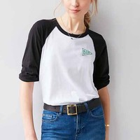 Truly Madly Deeply Embroidered Graphic Raglan Tee