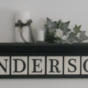 "Personalized Family Name Signs 36"" Shelf with 10 Wooden Letter Tiles Painted Black and White Custom for ANDERSON with Maple Leaves"