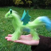 dragon posable doll green lemon turquoise bat wings ceramic eyes fantasy pet miniature faux fur handmade plush Jerseydays