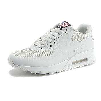 Nike Air Max 90 Flag Triple White Men Women Running Sneaker