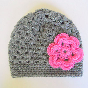 Baby Girl Gray Hat With Pink Flower 6 To 12 Month Infant Fall Cloche Winter Grey Cap Beanie