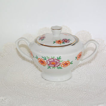 Vintage Sugar Bowl with lid / Hand Printed / Flowers / Folk / Polish Ceramic / Made in Poland / Tableware / Polish pottery / hand crafted