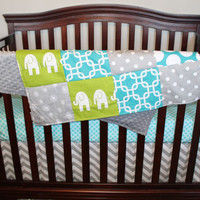 Lime Ele, Gray Chevron, Gray Dandelion, Turquoise Gotcha, and Turquoise Mod Dot Crib Bedding Ensemble with Patchwork Blanket