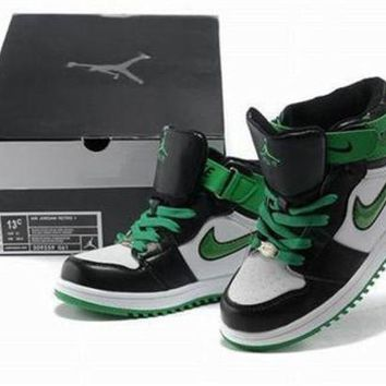 New Air Jordan 1 Retro Kids Shoes Black Green White From China