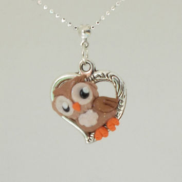"fanART- ""Tribal Heart Brown Owl"" -unique owl, gift for her, cool gift for teenager, stocking stuffer"