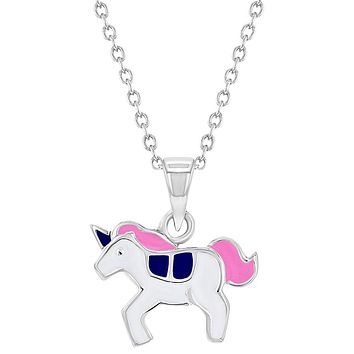 925 Sterling Silver Pink Enamel Adorable Unicorn Necklace Pendant for Girls 16""