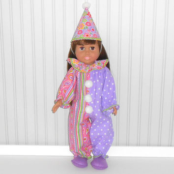 Stripe and Polka Dotted Clown Halloween Costume for 18 inch dolls with Clown Hat and Slippers American Doll Clothes