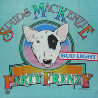 Vintage 1987 Spudz Mackenzie Party Frenzy Bud Light Beer Green T Shirt