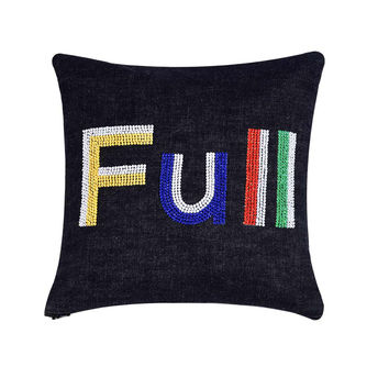 Full  Hand Embroidered And Beaded  Throw Pillow Multi