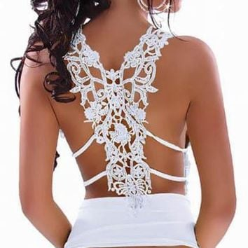 2018 Summer Camis Women Embroidery Backless Sexy Tank Top Wrap Black White Night Club Party Camisole Ladies Tops Fashion Sale