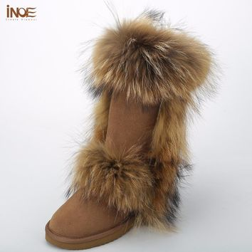 INOE Fashion big fox fur real cow suede leather high winter snow boots for women winter shoes tall boots waterproof high quality