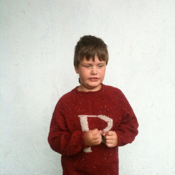 Ready to Ship - Child's Sweater with Letter -Red and Gold - Knitted - Monogram - Pullover -  Weasley Jumper