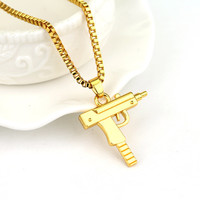 Gold Color Pistol Uzi Gun Engraved Letter On it Long Chain Pendants Necklaces for Men/Women HipHop Hip Hop Necklace Jewlery
