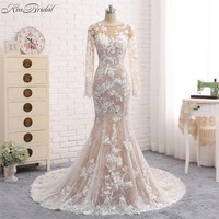 New Mermaid Long Wedding Dress 2018 O-Neck Long Sleeves Court Train Appliques Tulle Wedding Gowns Vestido de noiva sereia