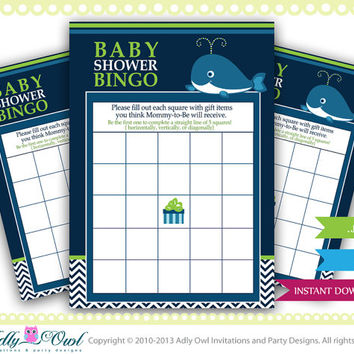 Boy Whale Bingo Game for Baby Shower, Blue Chevron Card for a boy Whale baby shower. Whale green, blue, chevron-oz08