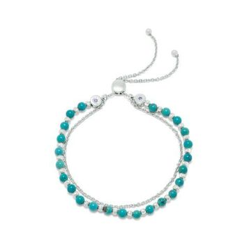 Double Strand Reconstituted Turquoise Bolo Rhodium Plated Bracelet