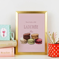INSTANT DOWNLOAD Luxury treats and desserts Beautiful fashion wall art Modern Home Décor Macaron Laduree Watercolour illustrated art