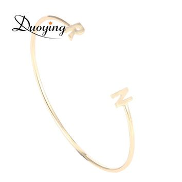 Duoying Initial Name Bracelets Bangle Simple Double Letters Bracelet for Etsy Love BBF Anniversary Gifts Simple Jewelry Bracelet