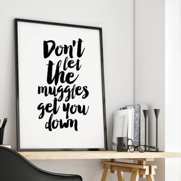 STAR WARS BABY,Don't Let The Muggles Get You Down,Yoda Quote,Kids Room Decor,Nursery Decor,Typography Print,Star Wars Birthday,Quote Prints