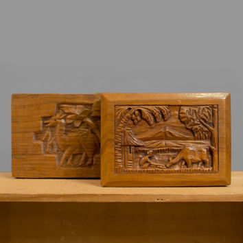 Vintage Wood Box Set, Hand Carved Wooden Boxes, 1940s 40s African Asian Ethnic Home Decor Pastoral Tropical Landscape Carving, Small Boxes