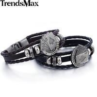 Men Heart Deck Card Leather Poker Bracelet