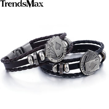 Trendsmax Mens Womens Strands Rope Leather Friendship Bracelet Lucky Spade Straight Flush Poker Handmade Charm Surfer LBM108