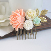 Light Peach Romantic Large Rose Gold Leaf Hair Comb. Ivory, White amd Mint Florals. Garden Wedding. Bridal Wedding Hair Accessory Hair Comb