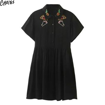 Women Black Pointed Collar Embroidery Pattern Short Sleeve Casual Slim Cute Mini Dress Summer Button Empire Cotton Clothing