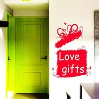 Wall Decals Love Gift Box Decal Vinyl Sticker Home Decor Love Bedroom Interior Kitchen Art Murals Window Decals